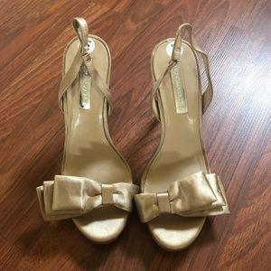 BCBG Max Azria US 8 Gold Sandals Slingback Heel